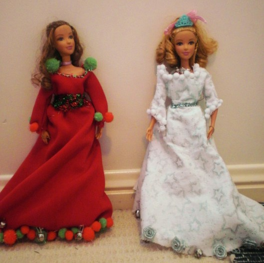Home-made Christmas dresses by my sisters.